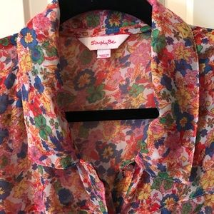Simply Be Gorgeous sheer Floral high low hem Tunic